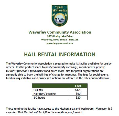 Hall Rentals Information